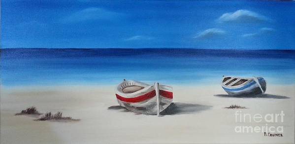 Boats Art Print featuring the painting Two Boats by Bev Conover