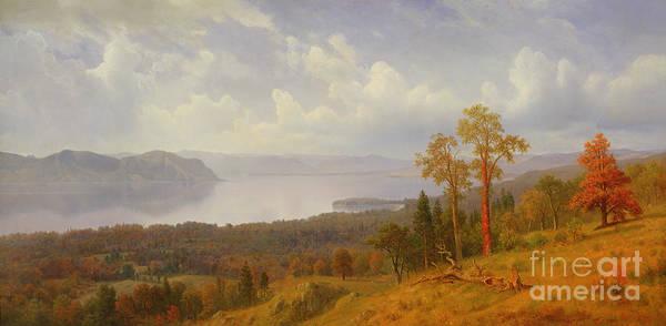 Bierstadt Art Print featuring the painting View On The Hudson Looking Across The Tappen Zee Towards Hook Mountain by Albert Bierstadt