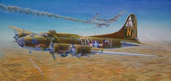 B-17 wallaroo Over Schwienfurt Art Print featuring the painting Wallaroo At Schwienfurt by Scott Robertson