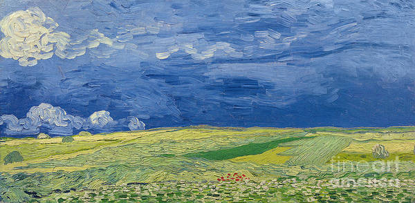 Field; Cloud; Sky; Landscape; Countryside; Post-impressionist; Auvers Sur Oise; French Art Print featuring the painting Wheatfields Under Thunderclouds by Vincent Van Gogh