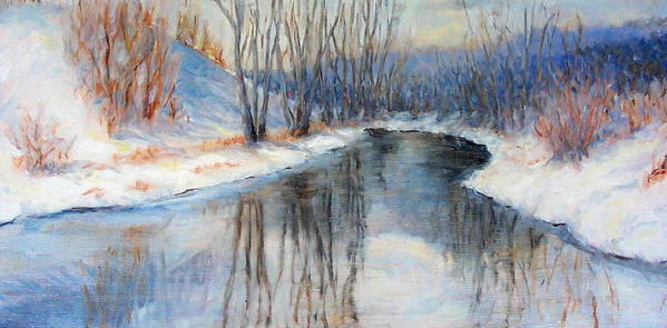 Winter Art Print featuring the painting Winter Reflection by Ruth Mabee