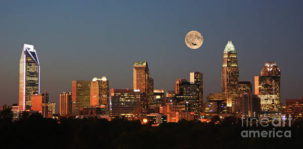 Charlotte Skyline Art Print featuring the photograph Charlotte City Skyline At Sunset by Kevin McCarthy