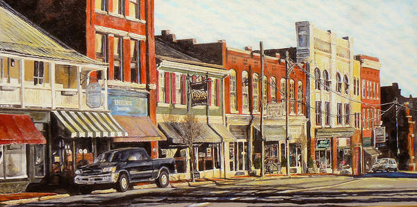 City Scene Art Print featuring the painting Sunday Morning by Thomas Akers