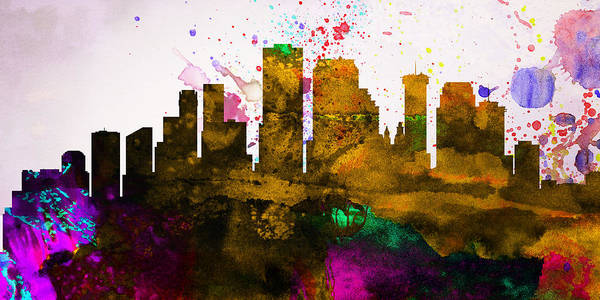 Art Print featuring the painting New Orleans City Skyline by Naxart Studio