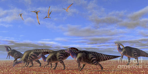 Parasaurolophus Art Print featuring the digital art A Herd Of Parasaurolophus Dinosaurs by Corey Ford