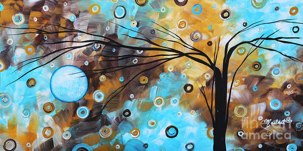 Abstract Art Print featuring the painting Abstract Painting Chocolate Brown Whimsical Landscape Art Baby Blues By Madart by Megan Duncanson