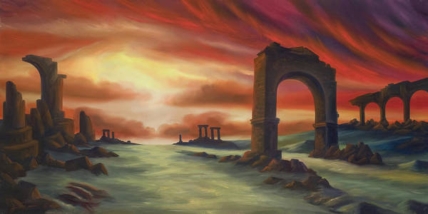 Sunset Art Print featuring the painting Another Fallen Empire by James Christopher Hill