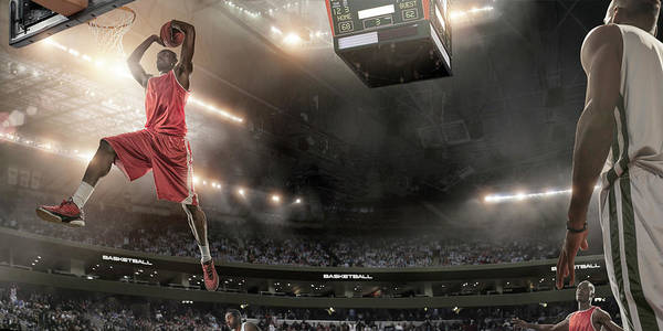 Goal Art Print featuring the photograph Basketball Player About To Slam Dunk by Peepo