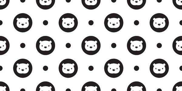 Panda Art Print featuring the drawing Bear Seamless Pattern Polar Bear Panda Vector Polka Dot Isolated