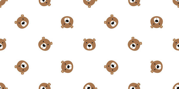 Panda Art Print featuring the drawing Bear Seamless Vector Pattern Polar Bear Panda Teddy Isolated Background