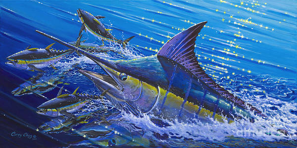 Fishing Art Print featuring the painting Blue Persuader by Carey Chen