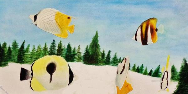 Butterfly Art Print featuring the painting Butterfly Fish by Savanna Paine