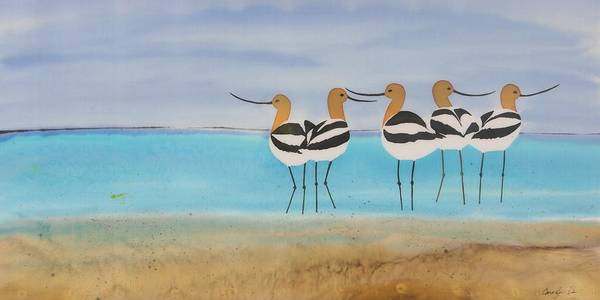 Avocets Art Print featuring the tapestry - textile Chance Encounter At The Beach by Carolyn Doe