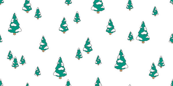 Christmas Tree Wood Forest Snow Santa Claus Vector Seamless Pattern Isolated Wallpaper Background Art Print