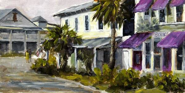 Purple Awnings Art Print featuring the painting Commerce And Avenue D by Susan Richardson