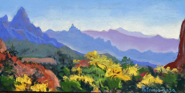 Plein Air Pastel Painting Done On Location In Zion National Park. Art Print featuring the pastel Eagle Craggs Vista by Patricia Rose Ford