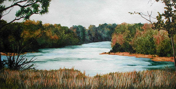 Watercolor Art Print featuring the painting Fort Toulouse Coosa Tallapoosa River by Beth Parrish