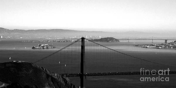 Golden Gate Bridge Art Print featuring the photograph Golden Gate And Bay Bridges by Linda Woods
