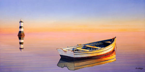 Boat Art Print featuring the painting Golden Twilight by Horacio Cardozo