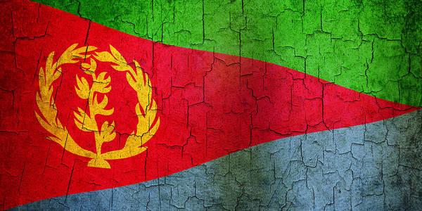 Aged Art Print featuring the digital art Grunge Eritrea Flag by Steve Ball