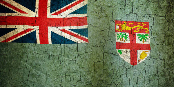 Aged Art Print featuring the digital art Grunge Fiji Flag by Steve Ball