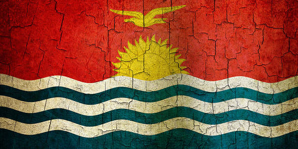 Aged Art Print featuring the digital art Grunge Kiribati Flag by Steve Ball