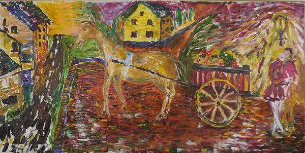 Horse Art Print featuring the painting Horse And Cart by Dozel Lake
