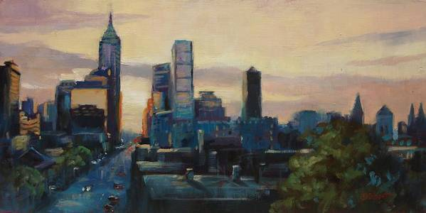 Indianapolis Art Print featuring the painting Indy City Scape by Donna Shortt