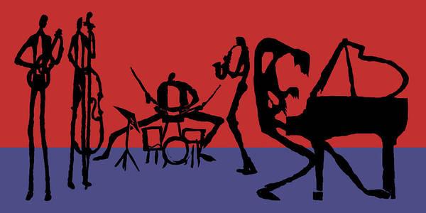 Jazz Art Print featuring the digital art Jammin Jazz Quintet by Rhodes Rumsey