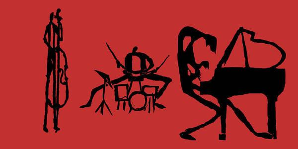 Jazz Art Print featuring the digital art Jammin Jazz Trio by Rhodes Rumsey