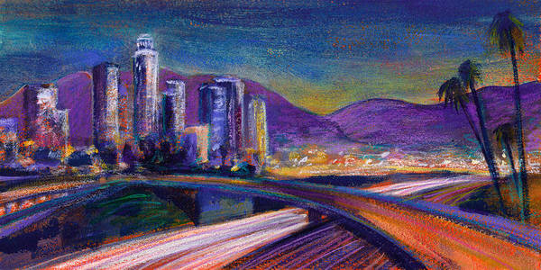 Downtown Art Print featuring the painting Light Up The Night by Athena Mantle