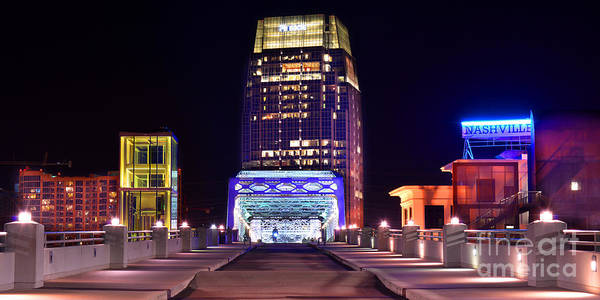 Nashville Print featuring the photograph Nashville Sight Night Skyline Pinnacle Panorama Color by Jon Holiday