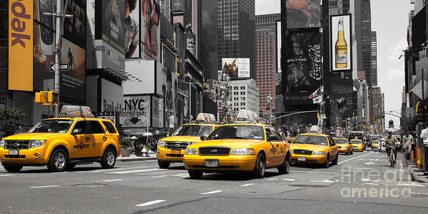 Manhatten Art Print featuring the photograph Nyc Yellow Cabs - Ck by Hannes Cmarits