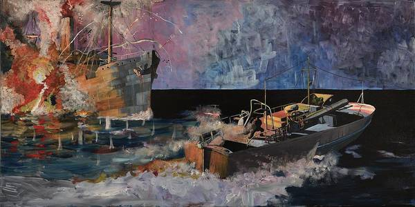 Ship Art Print featuring the painting Santa Eliza Martyred by Ray Agius