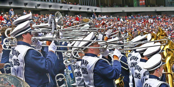 Penn State University Blue Band Art Print featuring the photograph Sounds Of College Football by Tom Gari Gallery-Three-Photography