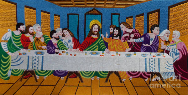 Autism Art Print featuring the tapestry - textile The Last Supper Hand Embroidery by To-Tam Gerwe