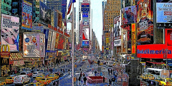 Time Square Print featuring the photograph Time Square New York 20130430 by Wingsdomain Art and Photography