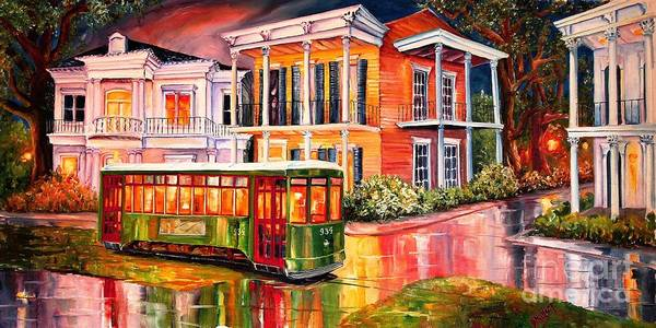 New Orleans Art Print featuring the painting Twilight In The Garden District by Diane Millsap