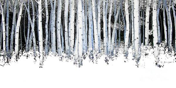 Aspens Art Print featuring the painting Winter Aspens by Michael Swanson