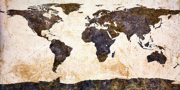 Earth Art Print featuring the painting World Map Abstract by Bob Orsillo