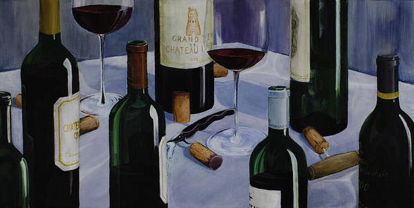 Wine Art Print featuring the painting Bordeaux by Geoff Powell