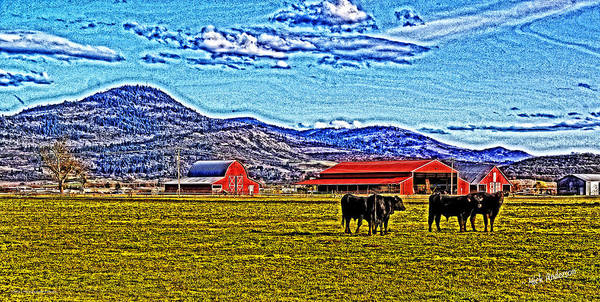 Hdr Art Print featuring the photograph Cows Pasture Barns Superspecialeffect by Mick Anderson