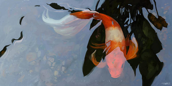 Koi Art Print featuring the digital art In The Shadows by Steve Goad