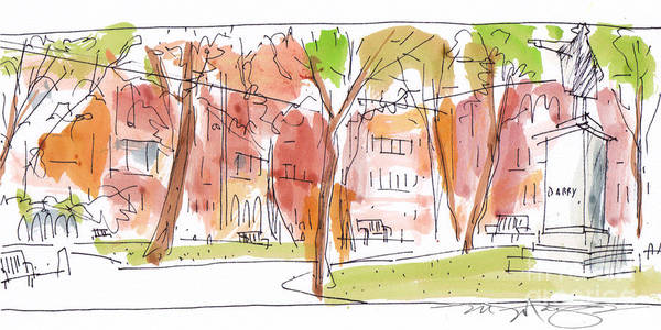 Landscape Art Print featuring the painting Independence Park Philadelphia by Marilyn MacGregor