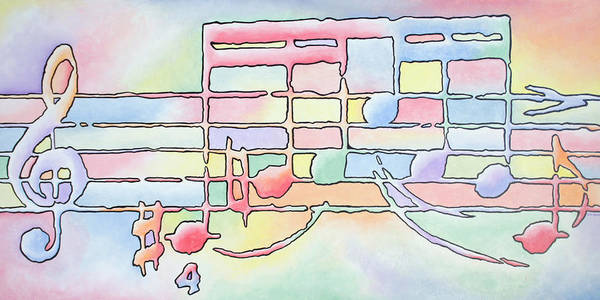 Music Art Print featuring the painting Music Notes by Rick Borstelman