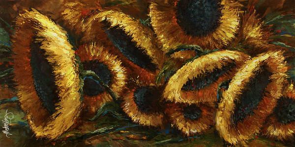 Sunflowers Art Print featuring the painting Sunflowers by Michael Lang