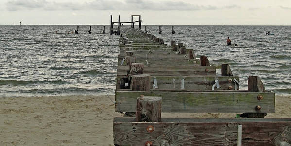 Pier Art Print featuring the photograph A Walk Into The Gulf by Diane Luke