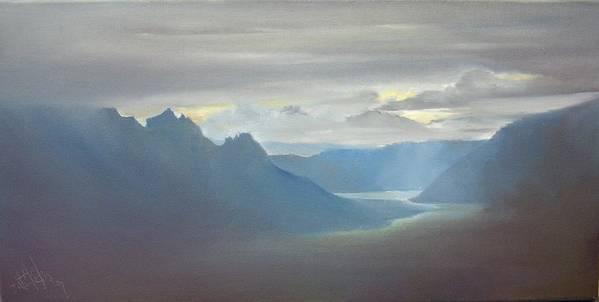 Landscape Art Print featuring the painting Alaska Cloud Break by Debbie Anderson