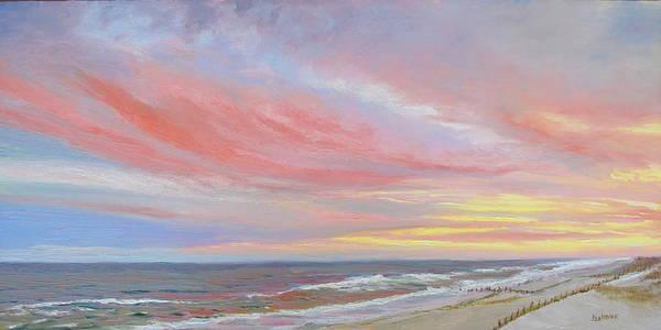 Seascape Art Print featuring the painting Alberta's Sunset by Lea Novak