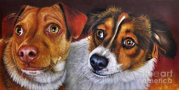 Puppies Art Print featuring the painting Ali And Ilu by Jurek Zamoyski